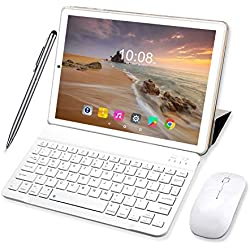 Tablette Tactile Ecran 10 Pouces 64Go ROM 3Go RAM 2 en 1-Clavier Bluetooth + Souris 4G Doule SIM/WiFi 8000mAh Batterie Tablette 4G Android-10pcs