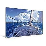 Premium Textil-Leinwand 120 cm x 80 cm quer, Freiheit unter Segeln | Wandbild, Bild auf Keilrahmen, Fertigbild auf echter Leinwand, Leinwanddruck: Auf der Yacht über das Meer (CALVENDO Menschen)