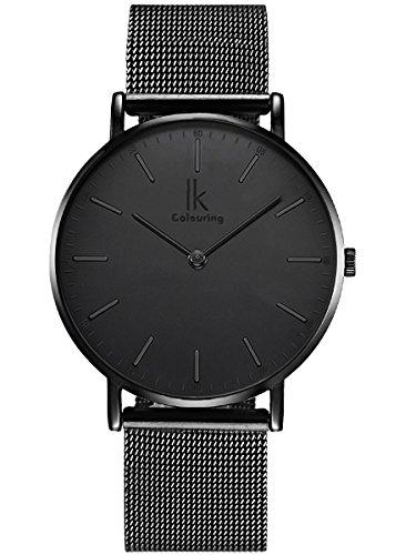 Alienwork IK All Black Quarz Armbanduhr Ultra-flach Uhr Damen Uhren Herren Zeitloses Design Metall schwarz 98469G-L-01