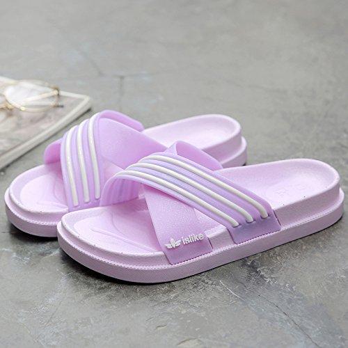 DogHaccd pantofole,Il bagno pantofole estate maschio femmina giovane di spessore antiscivolo soggiorno indoor home soft, cool ciabatte da bagno La porpora2