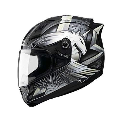 QINGTAOSHOP Personalità moto casco uomo e donna casco integrale full face casco locomotiva pieno di graffiti Unicorno (Color : Black, Size : S)