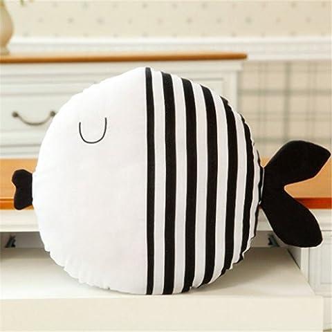 Edealing (TM) Warm Kiss Cartoon Fish Plush Sleeping Doll Pillow Stuffed Cushion Toy pour enfants Baby Room Decor -Striped Style
