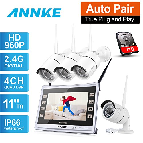 1280960P-ANNKE-HD-WIFI-Kit-de-4-Cmaras-de-Vigilancia-CCTV-NVR-P2P-13MP-IP66-IR-Cut-36mm-36LED-H264-Sistema-de-Seguridad-Inalmbrico-Acceso-Remoto-Alarma-Inteligente-1TB-Disco-Duro