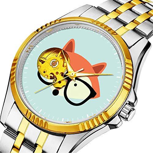 Lässige Männer automatische mechanische Uhr Luxusmarke lässige Sportuhren für männliche Persönlichkeit Zifferblatt & klares Fenster117.Cute Hipster Red Fox