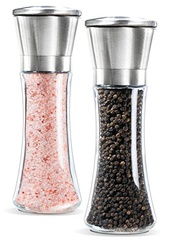 Price comparison product image Vicloon Salt and Pepper Grinder Mill Set,Stainless Steel, Glass body with Adjustable Ceramic Coarseness,2pcs
