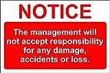 Haftungsausschluss Management wird nicht verantwortlich Sign–200mm x 300mm 1,2mm starrer Kunststoff