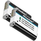 2x Minadax® qualitaets Batterie avec véritable 1800mAh pour Canon LEGRIA Mini X/Canon VIXIA Mini X/Powershot G1X Mark II, comme NB-12L–Système de batterie intelligent avec puce