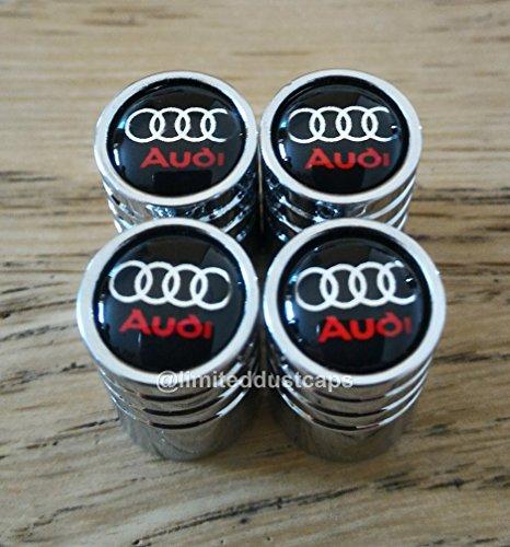 Tapones cromados para válvulas de neumáticos de Audi A1A3A4A5A6A7A8Q3Q5Q7TT R8RS e-tron, parte superior de color negro