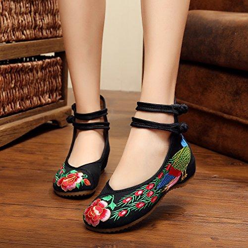 &qq Fine di vento/ricamo/donna/scarpe/scarpe/zeppe/tendine di Cina di primavera/estate/autunno/vintage/moda/colore peacock black