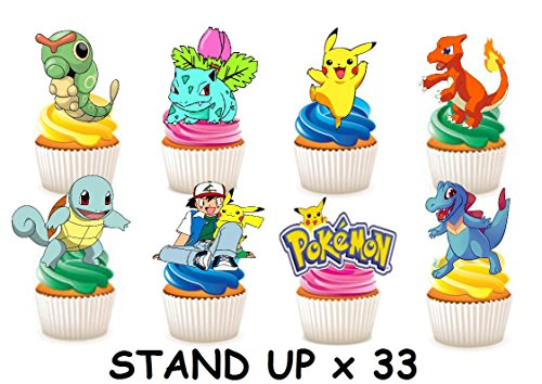 33 x Pokemon Party Stand up Essbare Papier Cupcake Topper Kuchen Dekorationen (Party Kuchen Toppers)