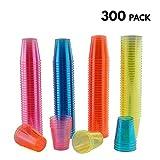 Matana Confezione da 300 bicchierini colorati al neon usa e getta, volume di 30 ml, diametro 3,9 x 4 cm di altezza
