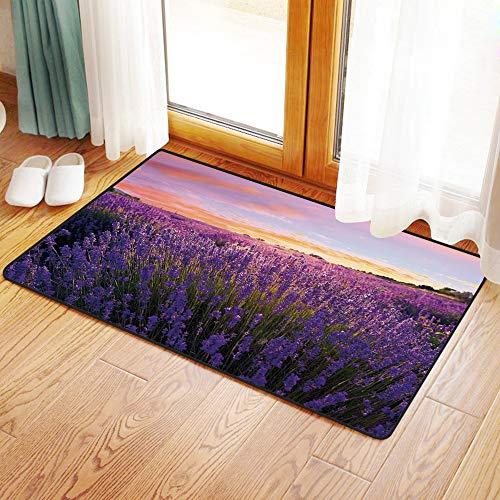 Yaoni Rutschfester Badvorleger, Lavendel, ländliche Wiese in voller Blüte Sommer Lebhafte Natur Europäisches Land Dekor,Mikrofaser Duschvorleger Teppich für Badezimmer Küche Wohnzimmer 40x60 cm Land Küche Dekor