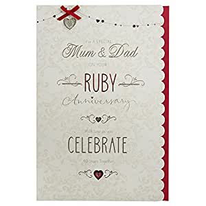 40th Wedding Anniversary Gifts For Mum And Dad : Mum and Dad Ruby (40th) Anniversary Card: Amazon.co.uk: Office ...