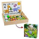 Giocattoli in Legno Puzzle Magnetico Legno 9 Cubi Legno Animals Puzzle 3D Costruzioni Giochi e Gioco da Tavolo per Bambini 3 4 5 Anni