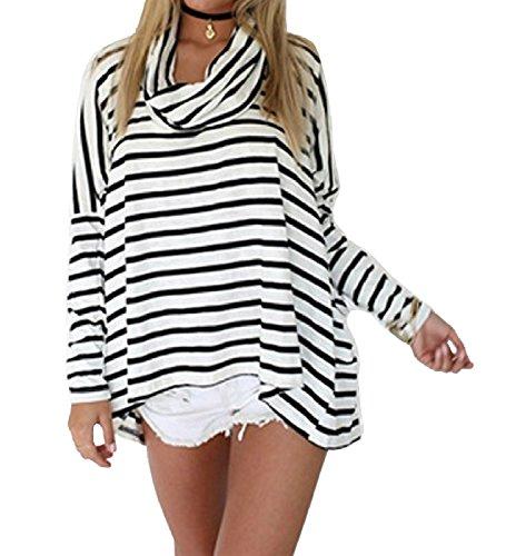 Minetom Maglietta Manica Lunga Pullover Shirt Blouse Striped T-shirt Basic Top - Camicetta da donna ( IT 40 )