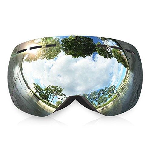 Trideer Skibrille Snowboardbrille Schneebrille Sportbrille, Anti-Fog UV-Schutz Ski Goggles für Herren Damen Kinder (#1 Silber) (Kinder-eis-blau-bekleidung)