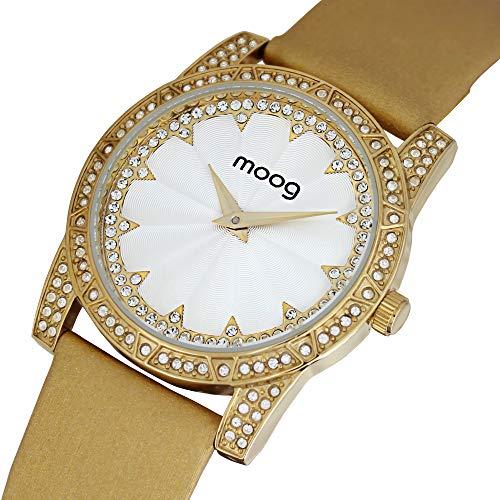 Moog Paris Chic Montre Femme avec Cadran Blanc, Eléments Swarovski, Bracelet Doré en Tissu - M45472-006