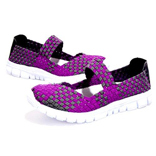 Scarpe da ginnastica Bilvener, da donna, confortevoli, in leggero tessuto elastico e ntrecciato, senza chiusura Purple