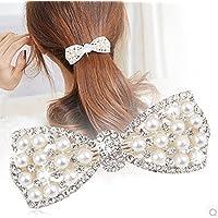 Distinct® Cute Bow Crystal Pearl Barrettes Hair Clip Hairpin Headwear for Women Fashion Hair Jewelry Accessories