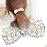 Distinct® Bow Mignon Crystal Pearl Barrettes Cheveux Clip en épingle à Cheveux Coiffure pour Femmes Mode Accessoires Bijoux de Cheveux (Argent)...