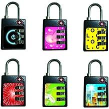 Bosvision 2 TSA cadenas de combinaison à 3 chiffres et alerte de fouille pour les bagages, les valises, les sacs ... (avec 6 autocollants colorés)