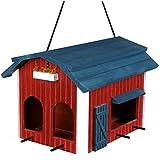 Trixie Mangeoire Suspendue Grange en Bois Rouge pour Oiseaux 24 x 22 x 32 cm