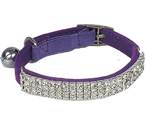 PUPTECK BA3007 Soft Velvet Safe Cat Adjustable Collar Bling Diamante With Bells Purple