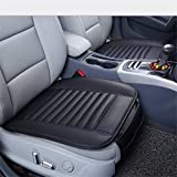 Guizen Universal Auto Sitzauflagen Sitzkissen mit Bambuskohle PU Leder (Schwarz)