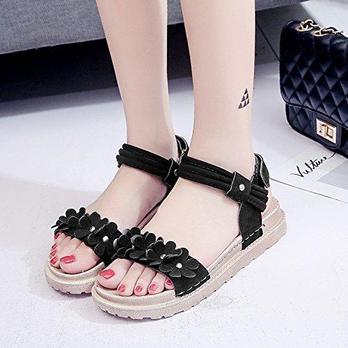 Lgk & fa estate sandali da donna con fondo piatto suola sandali da donna estate spiaggia scarpe Black