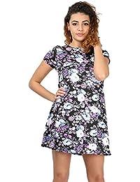 Oops Outlet Women's Tunic Casual Dress M/L (Uk 12/14) Floral Black Purple