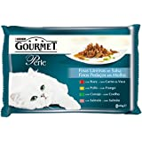 Gourmet Alimento para Gato, Húmedo, Finas Láminas En Salsa Con Buey, Pollo, Conejo Y Salmón - Pack de 4 x 85 g - Total: 340 g