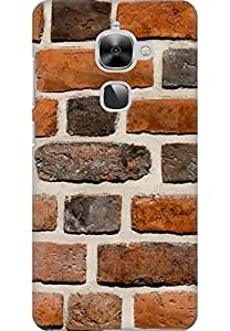 AMEZ LeEco Le 2S High Quality Printed Back Case (Brick Wall)
