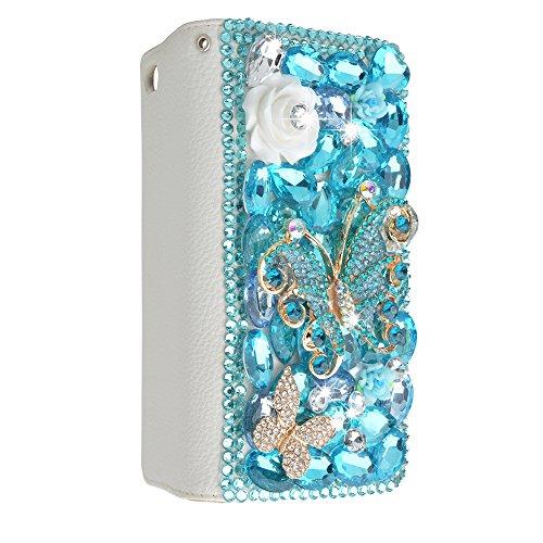 Evtech (tm) de Case-portefeuille en cuir papillon floral Bling Crystal Glitter Style Book Folio PU avec support Sac de téléphone et fentes de cartes pour iPhone 6/iPhone 6s (4.7 inch) Bleu
