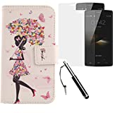 Lankashi Umbrella Girl PU Flip Leder Tasche Für Doogee HomTom HT7 Pro 5.5