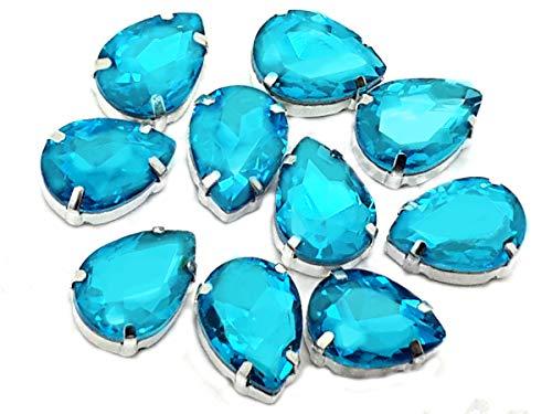 Kostüm Aquamarin - Eimass exquisite Glas-Kristalle zum Aufkleben oder Aufbügeln, Swarovski-Alternative, mit Glas-Rückseite, in silberner Einfassung, Aquamarine Teardrop, 13 x 18mm