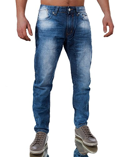 M361 JUSTING Herren Straight Fit Jeans Hose Dicke Naht Designer Vintage Blau