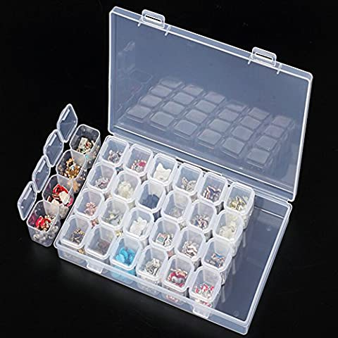 Removable Clear Plastic Organiser Nail Art Rhinestone 28-Grid Jewelry Diamonds Earrings Beads Necklace Storage Box Display Case