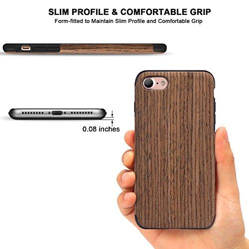 TENDLIN Coque iPhone 7 Bois et Flexible TPU Silicone Hybrid Slim Housse Etui pour iPhone 7 et iPhone 8 (Noir Bois de Rose) Noir Bois de Rose