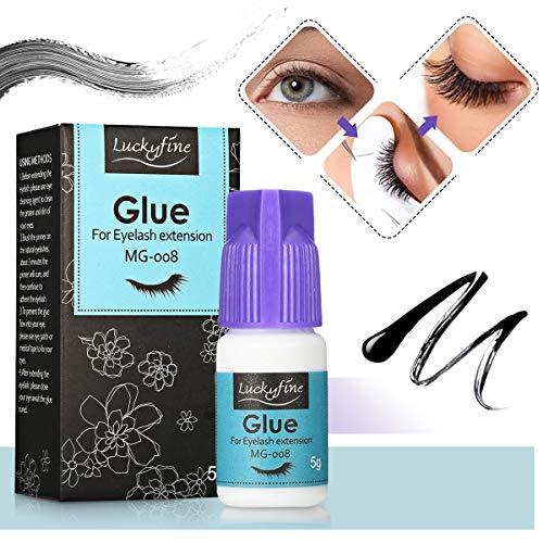 Wimpernkleber, Luckyfine Professional Kein Geruch Keine Stimulation Wimpernkleber Eyelash Extensions Glue extreme Haltbarkeit, schnell trocknend 5g - Permanente Wimpernkleber