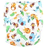 Baby Grow Waterproof Reusable Adjustable Diaper One Size Nappy 0-24 months (White-Lion Monkey)