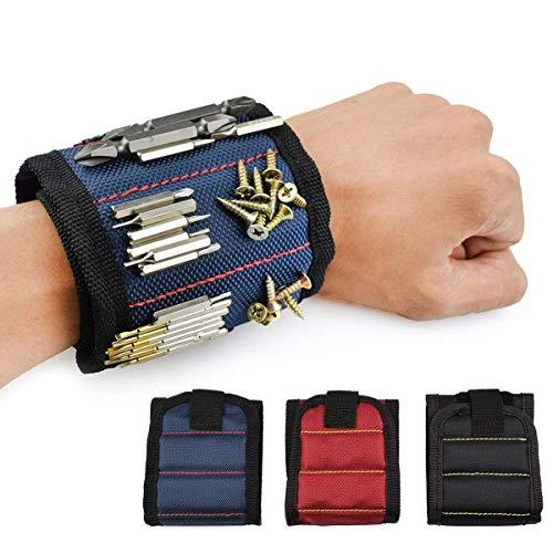Bracelet Magnétique, 10 Puissants Aimants Forts Magnet Arm Band pour les Vis de Maintien, Rondelles, Ciseaux, Petits Outils, Trépans de Forage, le meilleur outil cadeau pour bricoleur Craftsma