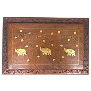 Schmuckkiste Elefanten Messingintarsien 30x20x9cm Holzbox Aufbewahrung