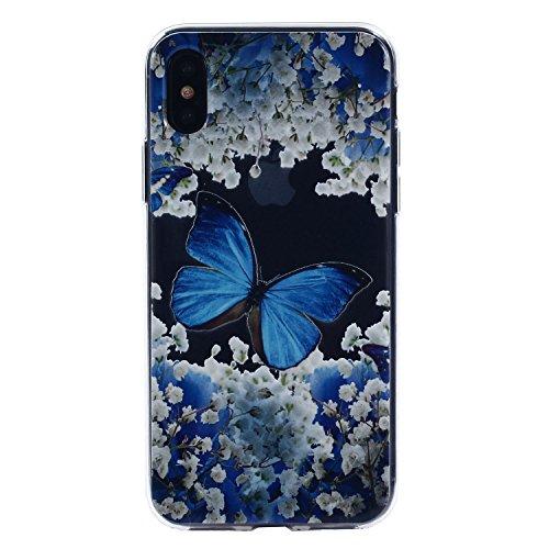 iPhone X Hülle, Voguecase Silikon Schutzhülle / Case / Cover / Hülle / TPU Gel Skin für Apple iPhone X(Specht) + Gratis Universal Eingabestift Kleine Orchidee 02