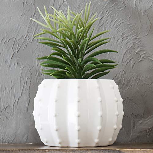 MyGift Blumentopf, Keramik, Kürbisform, 15,2 cm, Weiß