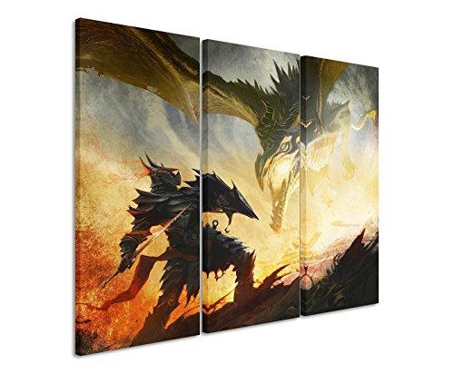 Leinwandbild 3 teilig Skyrim_Daedric_Armor_3x90x40cm (Gesamt 120x90cm) _Ausführung schöner Kunstdruck auf echter Leinwand als Wandbild auf Keilrahmen