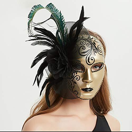 FYPmj Maske Maske Weibliche Maskerade Erwachsene Vollgesichts Sexy Gold Federspitze Maskiert Kunststoff Erwachsene Durchschnittliche Größe Maske Gesichtsmaske