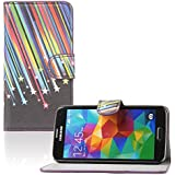 tinxi® Kunstleder Tasche für Samsung Galaxy S5 / S5 NEO Tasche Schutz Hülle Schale Etui Case Cover Standfunktion mit Karten Slot Meteorenschauer