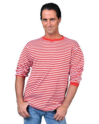 Kostüm Ringelpulli rot/weiß Größe 56/58 Herren Damen Unisex Gestreift Pullover Sweatshirt Clown Matrose Marine Karneval Fasching (Kostüm Roten Sweatshirt)