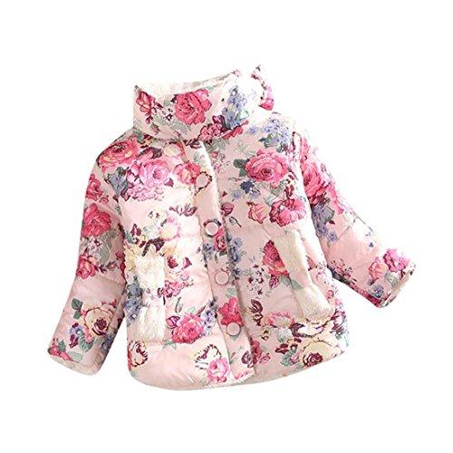 ZARU Escudo niños Niña Flores chaquetas de invierno Chaleco Gruesa capa superior (10, Beige)