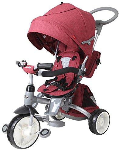 Tricycle Bébé Poussette Orientable Little Tiger avec Poignée de Poussée Canopée Ceintures et Sacs Rouge Melange